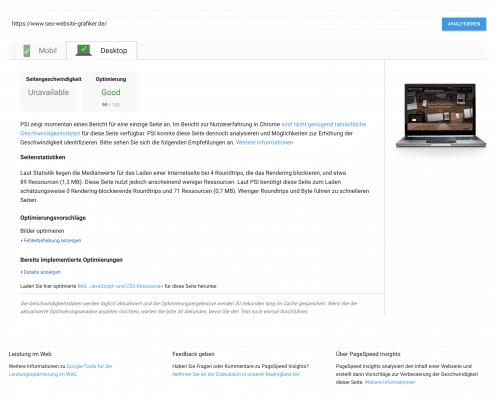 Pagespeedergebnis desktop nach meinen Optimierungen meiner WordPress Website 2018 - SEO Marketing Blog - Ingo Schütte – Grafiker, Website & SEO Spezialist aus Bochum