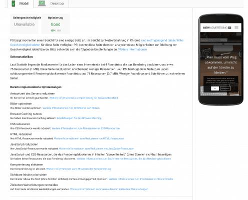 Pagespeedergebnis mobil nach meinen Optimierungen meiner WordPress Website 2018 - SEO Marketing Blog - Ingo Schütte – Grafiker, Website & SEO Spezialist aus Bochum
