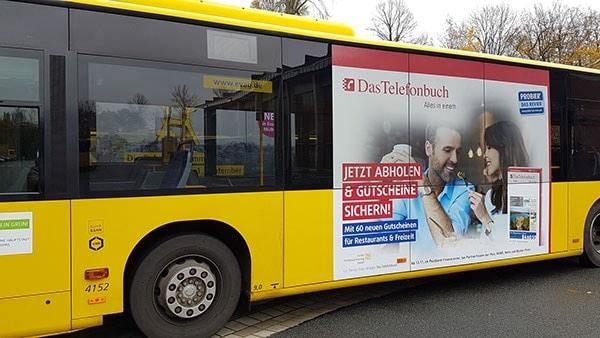 Buswerbung - Das Telefonbuch - Promo Buchverteilung Essen 2018