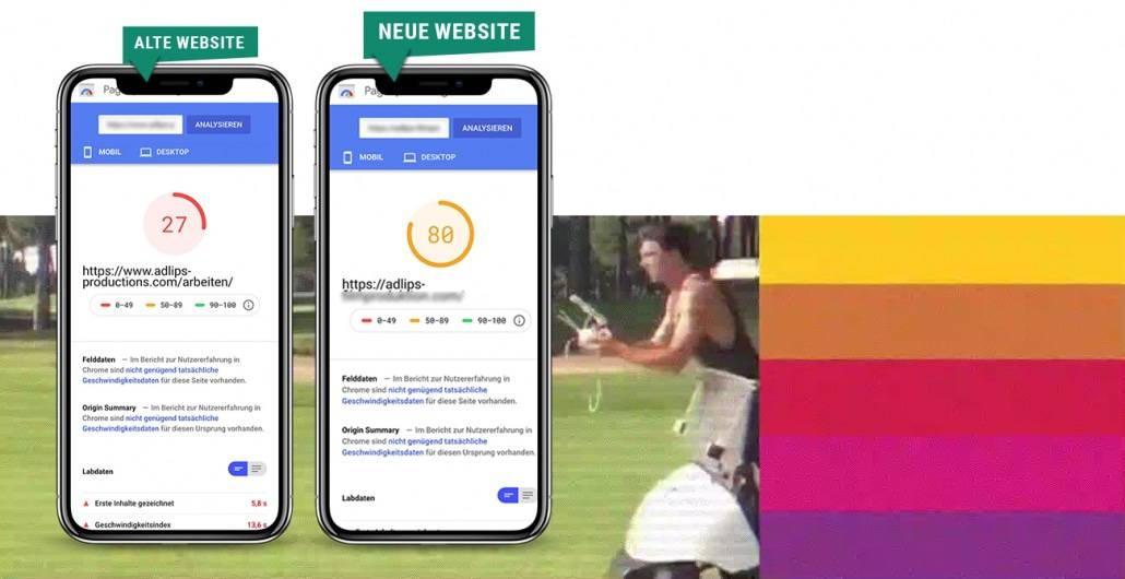 SEO Marketing Blog - Relaunch ADLIPS - Pagespeed Vergleich Mobile Keyvisual - Ingo Schütte – Grafiker, Website & SEO Spezialist aus Bochum