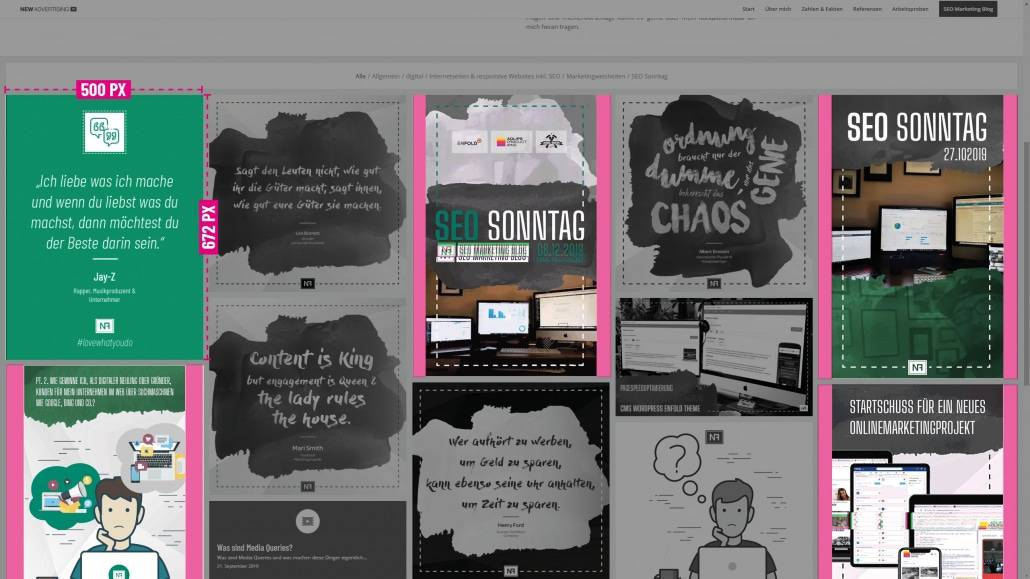 SEO Marketing Blog - SEO Sonntag - Enfold - Dateigröße animierte Masonry Portfolio- & Blogeintrag Vorschau - Ingo Schütte – Grafiker, Website & SEO Spezialist aus Bochum