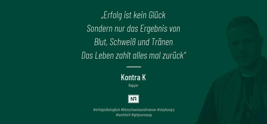Zitat - Kontra K - #erfolgistkeinglück - SEO Marketing Blog - Marketingweisheiten - Ingo Schütte – Grafiker, Website & SEO Spezialist aus Bochum